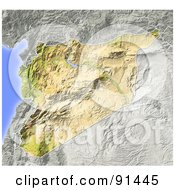 Royalty Free RF Clipart Illustration Of A Shaded Relief Map Of Syria