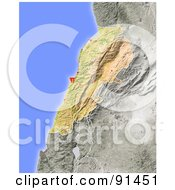 Royalty Free RF Clipart Illustration Of A Shaded Relief Map Of Lebanon