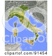 Royalty Free RF Clipart Illustration Of A Shaded Relief Map Of Italy