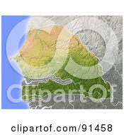 Royalty Free RF Clipart Illustration Of A Shaded Relief Map Of Senegal