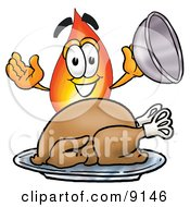 Clipart Picture Of A Flame Mascot Cartoon Character Serving A Thanksgiving Turkey On A Platter by Toons4Biz