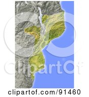 Royalty Free RF Clipart Illustration Of A Shaded Relief Map Of Mozambique