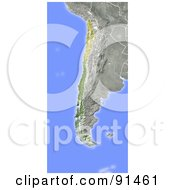 Royalty Free RF Clipart Illustration Of A Shaded Relief Map Of Chile
