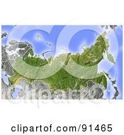 Royalty Free RF Clipart Illustration Of A Shaded Relief Map Of Russia