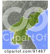 Royalty Free RF Clipart Illustration Of A Shaded Relief Map Of North Korea