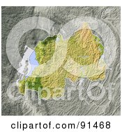 Royalty Free RF Clipart Illustration Of A Shaded Relief Map Of Rwanda