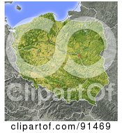 Royalty Free RF Clipart Illustration Of A Shaded Relief Map Of Poland