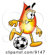 Clipart Picture Of A Flame Mascot Cartoon Character Kicking A Soccer Ball