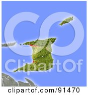 Royalty Free RF Clipart Illustration Of A Shaded Relief Map Of Trinidad And Tobago