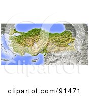 Royalty Free RF Clipart Illustration Of A Shaded Relief Map Of Turkey