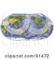 Royalty Free RF Clipart Illustration Of A World Map Shaded Relief In Robinson Projection With Shaded Ocean Floor Centered On The Pacific by Michael Schmeling
