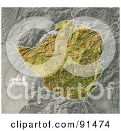 Royalty Free RF Clipart Illustration Of A Shaded Relief Map Of Zimbabwe