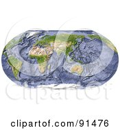 Royalty Free RF Clipart Illustration Of A Robinson Projection Wold Map Centered On India With Shaded Ocean Floor