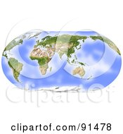 Royalty Free RF Clipart Illustration Of A World Map Shaded Relief In Robinson Projection Centered On India