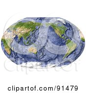 Royalty Free RF Clipart Illustration Of A World Map Shaded Relief With Shaded Ocean Floor by Michael Schmeling