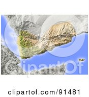 Royalty Free RF Clipart Illustration Of A Shaded Relief Map Of Yemen