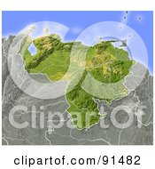 Royalty Free RF Clipart Illustration Of A Shaded Relief Map Of Venezuela
