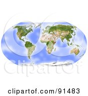 Royalty Free RF Clipart Illustration Of A World Map Shaded Relief In Robinson Projection Centered On Africa by Michael Schmeling