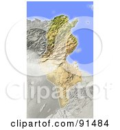 Royalty Free RF Clipart Illustration Of A Shaded Relief Map Of Tunisia
