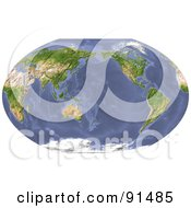 Royalty Free RF Clipart Illustration Of A World Map Shaded Relief Centered On The Pacific by Michael Schmeling #COLLC91485-0128