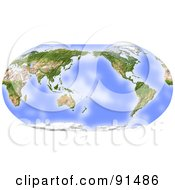 Royalty Free RF Clipart Illustration Of A World Map Shaded Relief In Robinson Projection Centered On The Pacific by Michael Schmeling