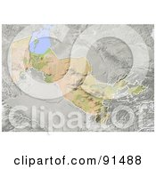 Royalty Free RF Clipart Illustration Of A Shaded Relief Map Of Uzbekistan