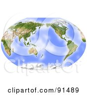 Royalty Free RF Clipart Illustration Of A World Map Shaded Relief Centered On The Pacific by Michael Schmeling