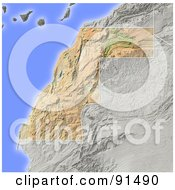 Royalty Free RF Clipart Illustration Of A Shaded Relief Map Of Western Sahara