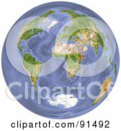 Royalty Free RF Clipart Illustration Of A 3d World With Continents And Oceans by Michael Schmeling