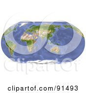 Royalty Free RF Clipart Illustration Of A Robinson Projection World Map Centered On India by Michael Schmeling