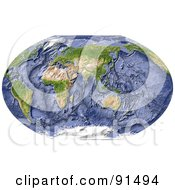 World Map Shaded Relief Centered On India With Shaded Ocean Floor