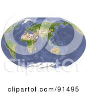 Royalty Free RF Clipart Illustration Of A World Map Shaded Relief Centered On India by Michael Schmeling
