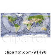 Royalty Free RF Clipart Illustration Of A Shaded Relief World Map With A Shaded Ocean Floor