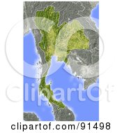 Royalty Free RF Clipart Illustration Of A Shaded Relief Map Of Thailand