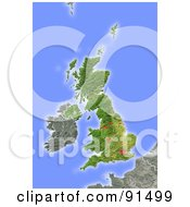 Shaded Relief Map Of United Kingdom