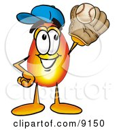 Clipart Picture Of A Flame Mascot Cartoon Character Catching A Baseball With A Glove