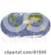Royalty Free RF Clipart Illustration Of A Shaded Relieve World Map