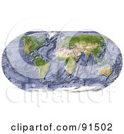 Royalty Free RF Clipart Illustration Of A World Map With A Textured Ocean Floor by Michael Schmeling