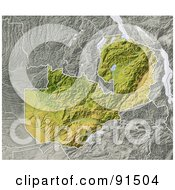 Royalty Free RF Clipart Illustration Of A Shaded Relief Map Of Zambia