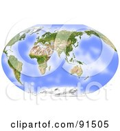 World Map Shaded Relief Centered On India
