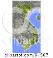 Royalty Free RF Clipart Illustration Of A Shaded Relief Map Of Vietnam