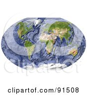 Royalty Free RF Clipart Illustration Of A World Map Shaded Relief With Shaded Ocean Floor