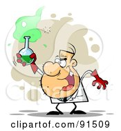 Royalty Free RF Clipart Illustration Of A Mad Scientist Grinning And Holding A Green Potion In A Laboratory Flask by Hit Toon