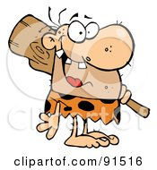 Royalty Free RF Clipart Illustration Of A Toothy Caveman Grinning And Carrying A Club Over His Shoulder