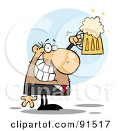 Caucasian Businessman Grinning And Holding Up A Pint Of Beer