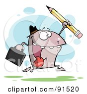Royalty Free RF Clipart Illustration Of A Shark Business Man Running With A Briefcase And Pencil by Hit Toon