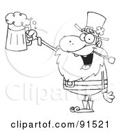 Royalty Free RF Clipart Illustration Of An Outlined Leprechaun Toasting And Holding Up Beer