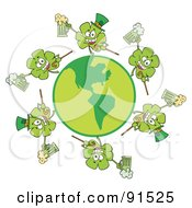 Royalty Free RF Clipart Illustration Of A Circle Of Shamrocks Running Around A Globe With Green And Yellow Beer