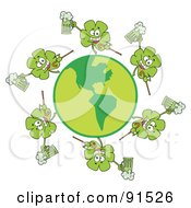 Royalty Free RF Clipart Illustration Of A Circle Of Shamrocks Running Around A Globe With Green Beer