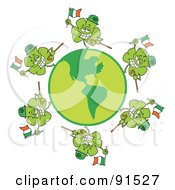 Royalty Free RF Clipart Illustration Of A Circle Of Shamrocks Running Around A Globe With Irish Flags Hats And Canes